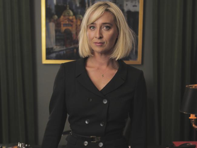 She's back ... Asher Keddie returns to TV as Premier Kate Ballard in Ten's new series Party Tricks. Picture: Supplied