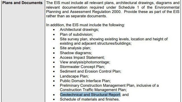 Opal Tower's Environmental Assessment Requirements asking for a geotechnical and structural report.