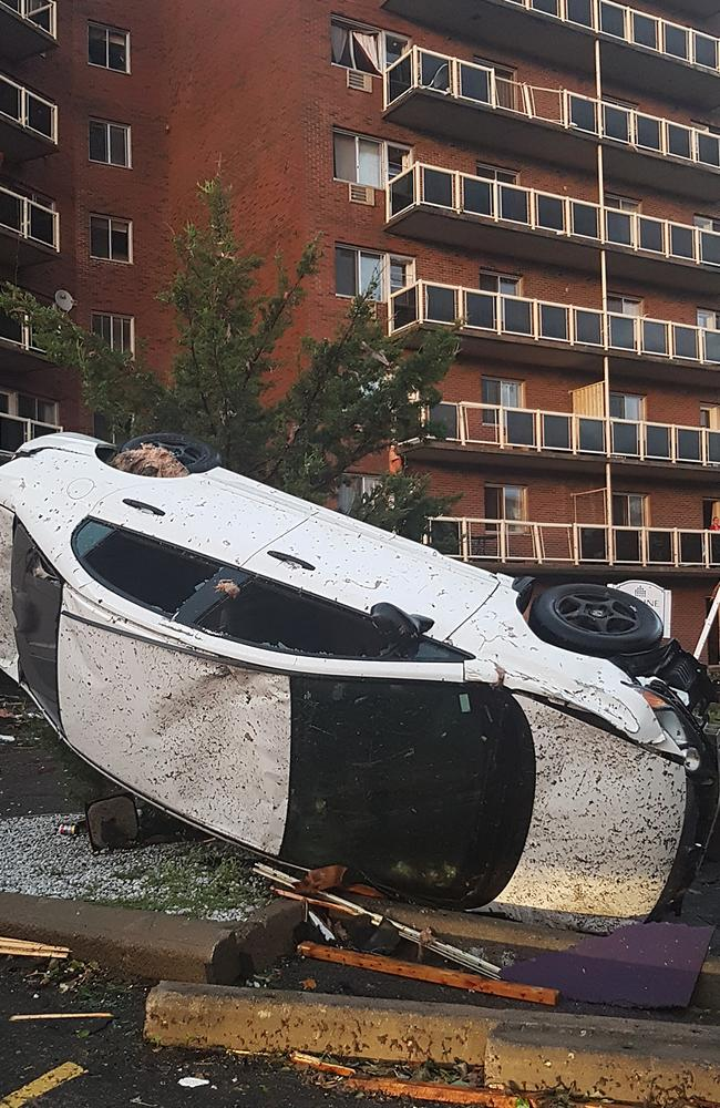 Destroyed buildings and cars are seen in Mont-Bleu, Gatineau, Quebec, close to Ottawa after a tornado shattered Canada's capital. Picture: Vincent-Carl Leriche/AFP