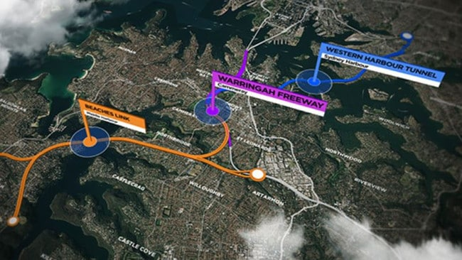 Plans for a Western Harbour Tunnel and Beaches Link.