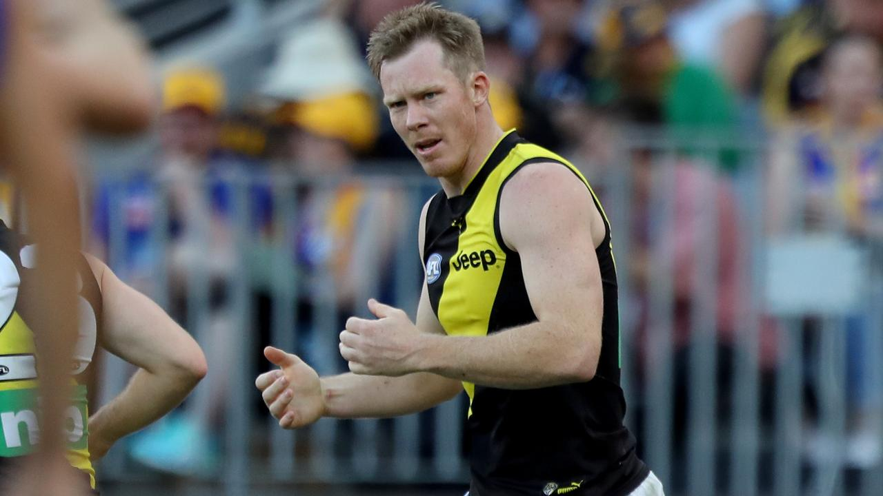 Richmond forward Jack Riewoldt was left coughing up blood after Sunday's loss to West Coast. (AAP Image/Richard Wainwright)
