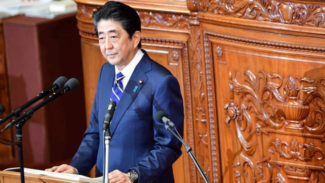 Japan's Prime Minister Shinzo Abe, or should we say Prime Minister Abe Shinzo. Picture: Martin Bureau/AFP.