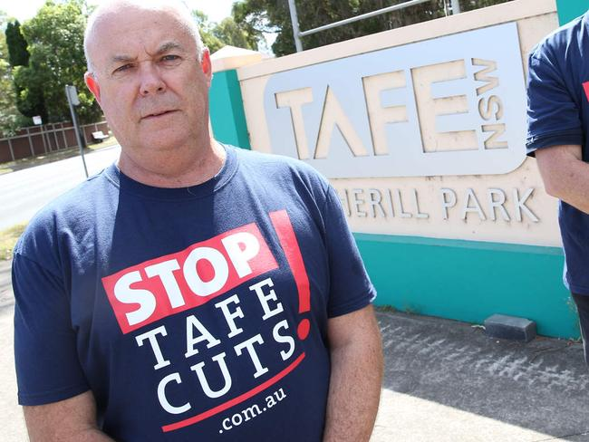 President of the TAFE Teachers' Association, Phil Chadwick, protesting against changes to the TAFE sector in NSW.