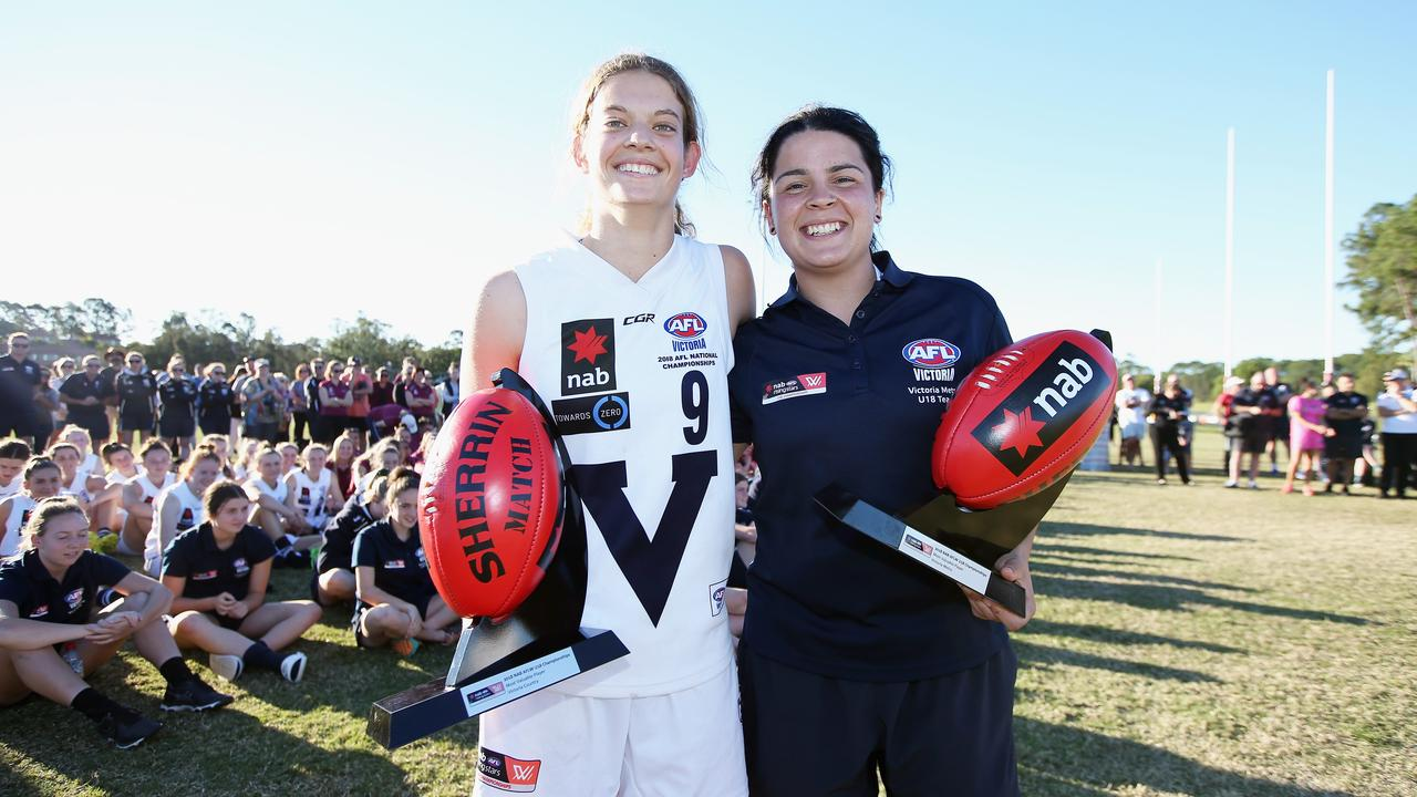 Nina Morrison and Madison Prespakis are two of the best under 18 women's footballers in the country. Photo: Jason O'Brien/Getty Images.