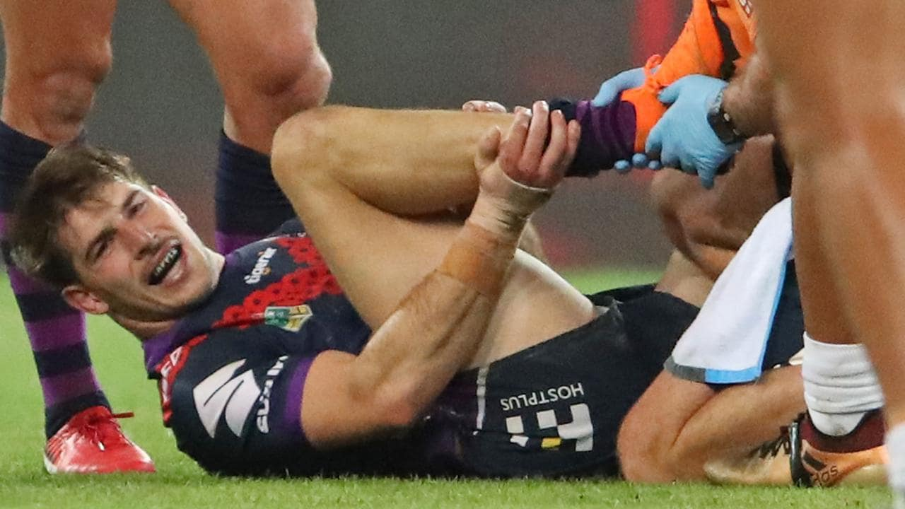 Storm centre Curtis Scott could miss two games after suffering a high ankle sprain against the Warriors. Photo: Scott Barbour/Getty Images
