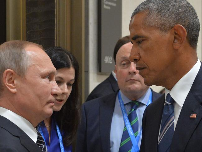 Russian President Vladimir Putin pictured with his US counterpart Barack Obama on the sidelines of the G20 Leaders Summit in Hangzhou, China last month. Picture: Alexei Druzhinin