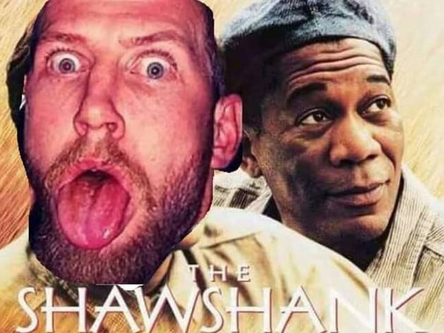 Davidson taunts police with a mock-up poster of iconic prison movie The Shawshank Redemption. Picture: Facebook