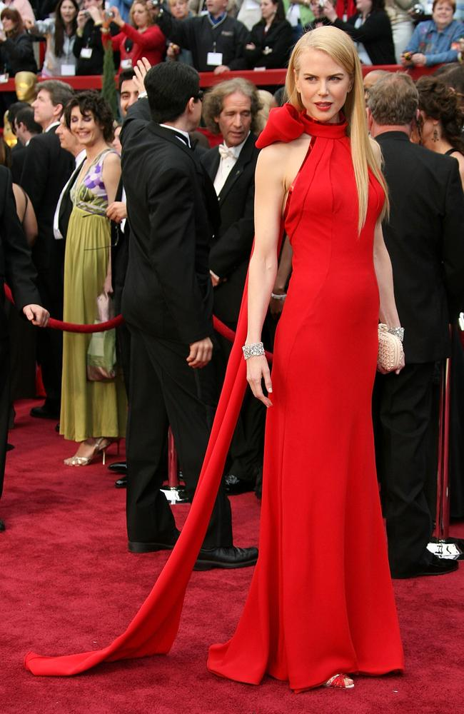 Nicole Kidman goes for red in 2007. Picture: Frazer Harrison/Getty Images