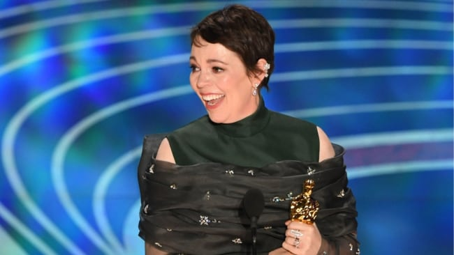 Olivia Colman accepting her award. Image: Getty