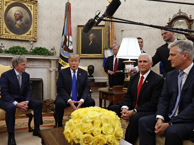 US President Donald Trump speaks, next to Vice President Mike Pence, and Special Presidential Envoy for Hostage Affairs Robert O'Brien, right. Picture: AP