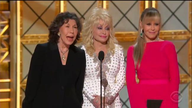 9 to 5 ladies sledge Trump in their Emmys reunion