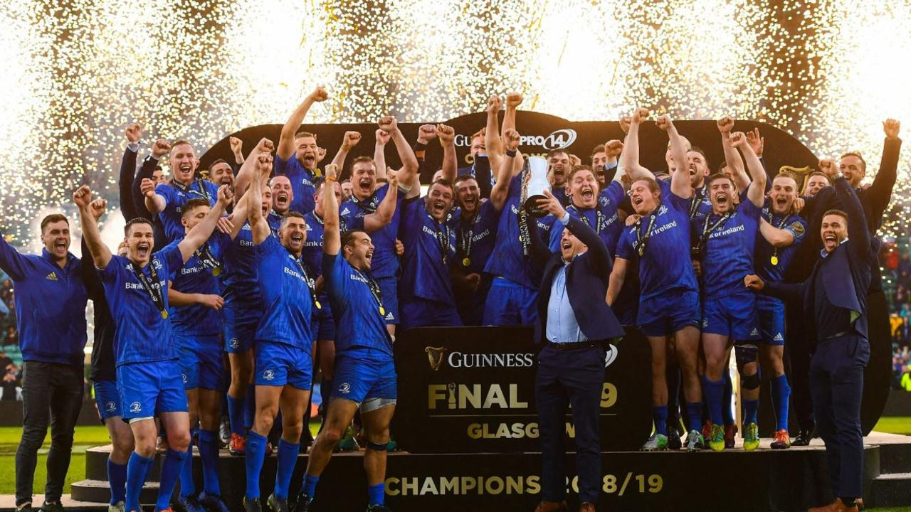 Injured Irish star Sean O'Brien lifts the Pro14 Leinster celebrate after winning another PRO 14 competition.