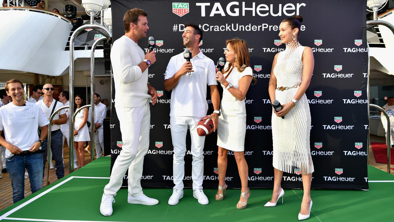 Tom Brady, Daniel Ricciardo, Geri Horner and supermodel Bella Hadid at Monaco last year.