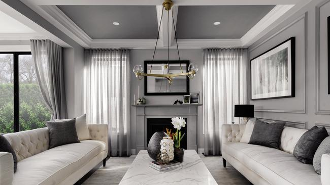 A coffered ceiling channels a traditional look.