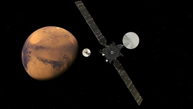 Artist's impression of the ExoMars Trace Gas Orbiter (TGO) and its entry, descent and landing demonstrator module, Schiaparelli, approaching Mars.