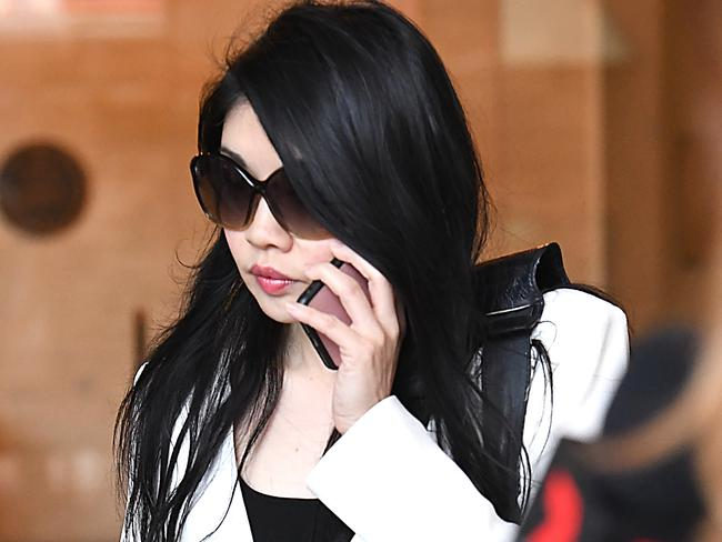 Denise Lee leaves the Downing Centre Courts in Sydney. Picture: Peter Rae/AAP