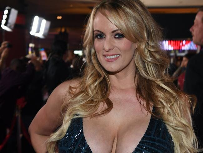 Adult film actor and director Stormy Daniels, real name Stephanie Clifford, gave a bizarre interview on Jimmy Kimmel Live! Picture: Ethan Miller/Getty Images/AFP