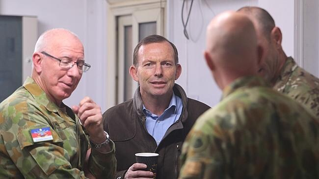 Mr Abbott with the Chief of the Defence Force General David Hurley. Picture: Gary Ramage