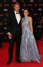 Daniel Talia of Adelaide and Megan Bennett on the Brownlow red carpet.