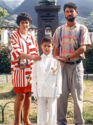 Ronaldo at the age of 10 with mum Dolores and dad Diniz.
