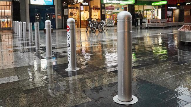 The new Rundle Mall bollards in Adelaide. Picture: AAP / Matt Loxton.
