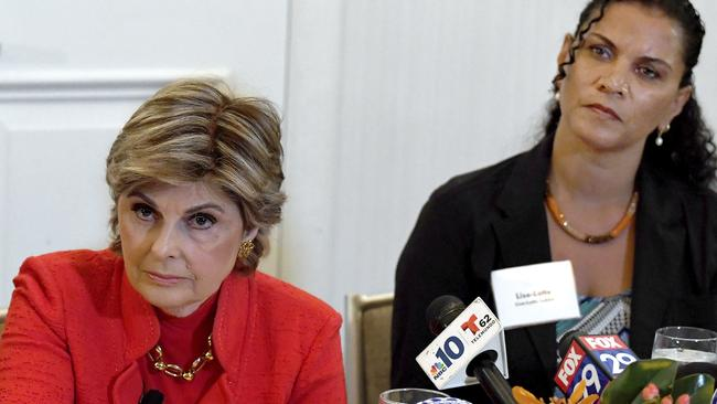 Lawyer Gloria Allred, left, with her client Lise-Lotte Lublin, who says she remembers Cosby stroking her hair, then blacking out for two days. Picture: Jose F. Moreno/The Philadelphia Inquirer via AP