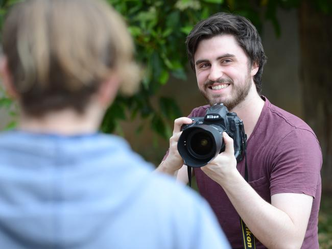 Aidan Lawrence studied a short course in photography and now he wants to become a teacher. Picture: AAP/Brenton Edwards