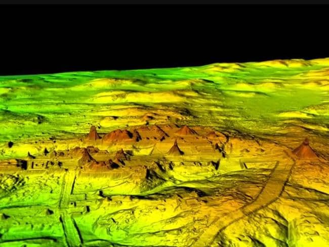 The extent of one of the Mayan ceremonial centres — complete with several step pyramids — is shown in this 3D LiDAR scan image. Picture: National Geographic/The Lost Maya City
