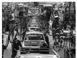 GMH car body assembly line at Holden's Elizabeth plant in 1972.