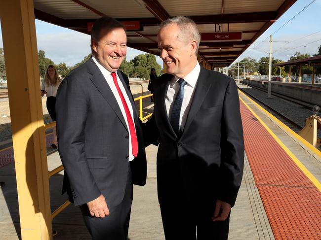 Shadow infrastructure minister Anthony Albanese and Opposition Leader Bill Shorten at Midland railway station, Perth, announcing that if Labor is elected, the line will be extended. Picture: Colin Murty/The Australian