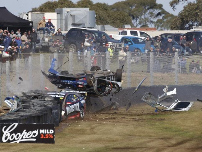 The world turns upside down for Todd Hazelwood. Picture: Mark Horsburgh
