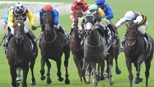 Jockey Christian Reith and Sky Boy (left) take out the Villiers Stakes.