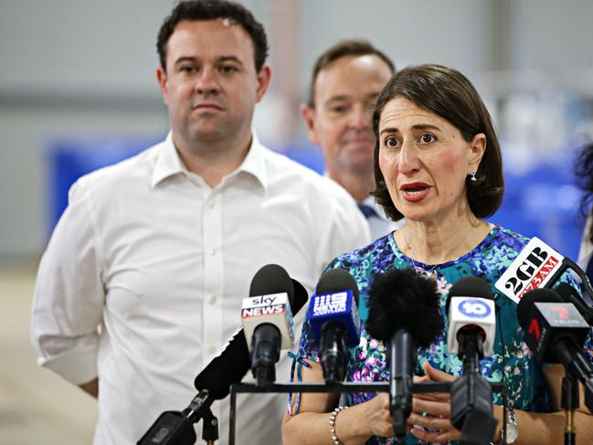 NSW Premier Gladys Berejiklian and Minister Stuart Ayres. Picture: Adam Yip