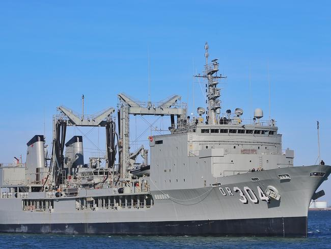 "HMAS Success (pictured), HMAS Toowoomba and HMAZ ANZAC were involved in a civil but ""robust"" exchange with the Chinese military. Picture: Hamish Blair"