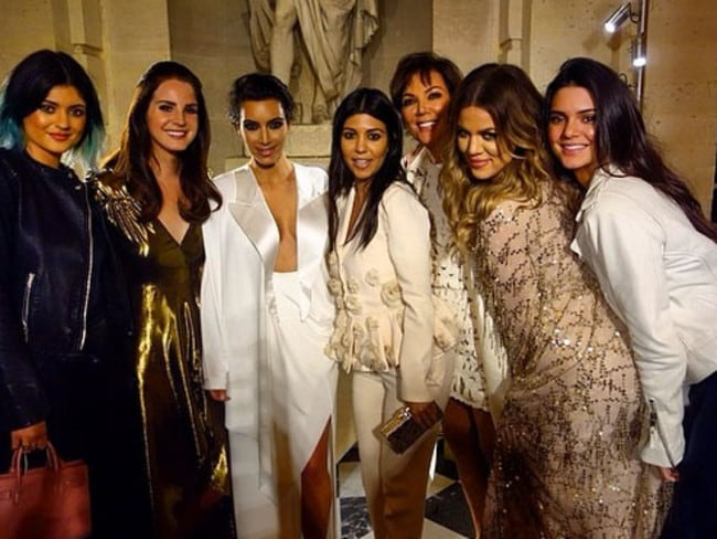 Kendall Jenner (far right) with her famous family: Kim, Kourtney, Khloe, Kylie and her mother Kris Jenner.