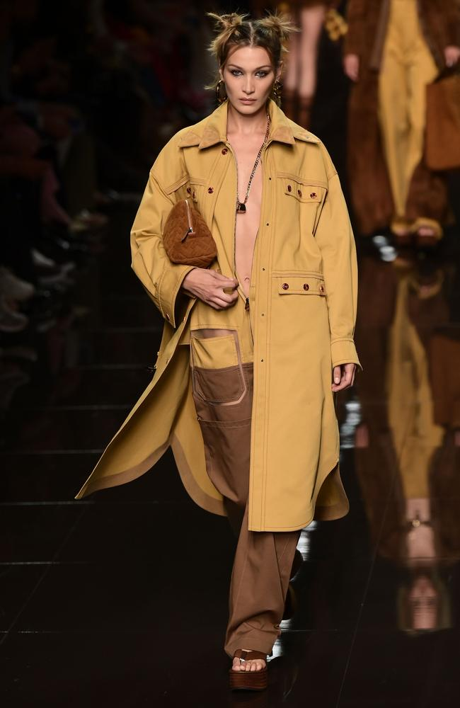 A Fendi trench as seen on Bella Hadid. Picture: AFP