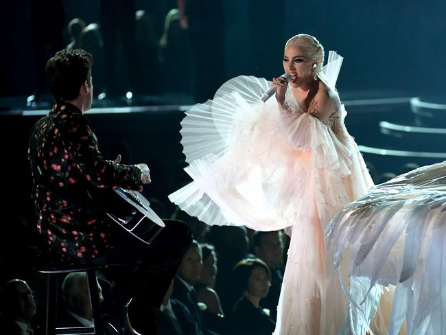 Lady Gaga performs with Mark Ronson onstage. Picture: Getty