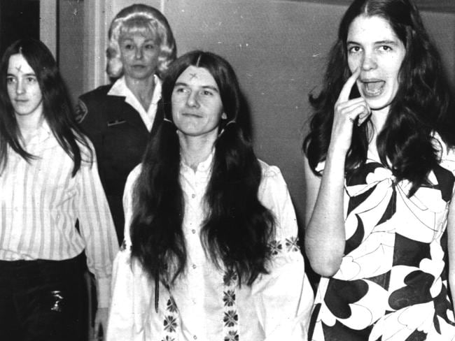 The three Manson 'family' girls with carved foreheads, from left Susan Atkins, Patricia Wrenwinkel and Leslie Van Houten arrive in court in 1971. Picture: United Press International.