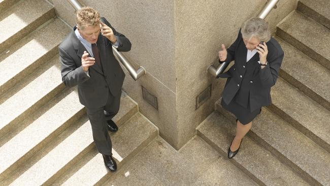 If you want to talk on your phone, you can take the stairs.