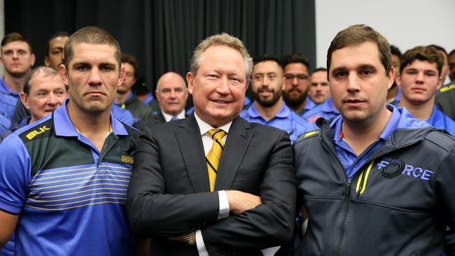 Retired Force captain Matt Hodgson, Andrew Forrest and David Wessels gather at WA headquarters following the Supreme Court's decision to dismiss their appeal.