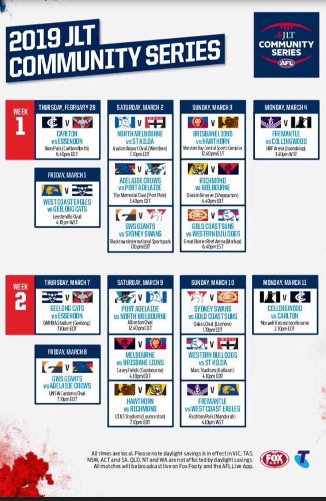 AFL 2019 JLT community series fixture.