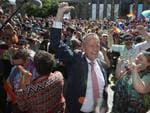Labor Leader Bill Shorten reacts to the same-sex marriage postal survey Yes result in front of the State library of Victoria in Melbourne, Wednesday, November 15, 2017. Picture: AAP Image/David Crosling