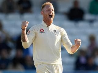 LEEDS, ENGLAND - AUGUST 26: England bowler Ben Stokes celebrates after dismissing Chase during day two of the 2nd Investec Test match between England and West Indies at Headingley on August 26, 2017 in Leeds, England. (Photo by Stu Forster/Getty Images)