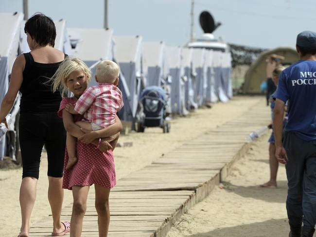 Displaced ... refugees from eastern Ukraine live in a refugee camp near the Russian city of Donetsk near the Russian-Ukrainian border. Picture: AFP