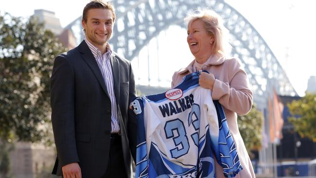 NHL star in waiting Nathan Walker with his mother Ceri, in Sydney.