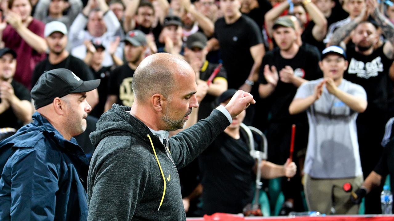 The Wanderers fans cheer Markus Babbel as he leaves the pitch.
