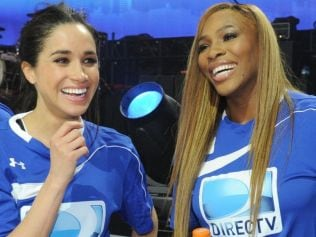 Meghan Markle and Serena Williams participate in the DirecTV Beach Bowl in 2014 in New York City. Image: Kevin Mazur/Getty Images for DirecTV.