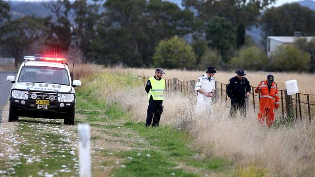 Police and SES conduct a line search near the Gunnedah farmhouse where a 14-year-old girl is alleged to have murdered her cousin, 10. Picture: Nathan Edwards