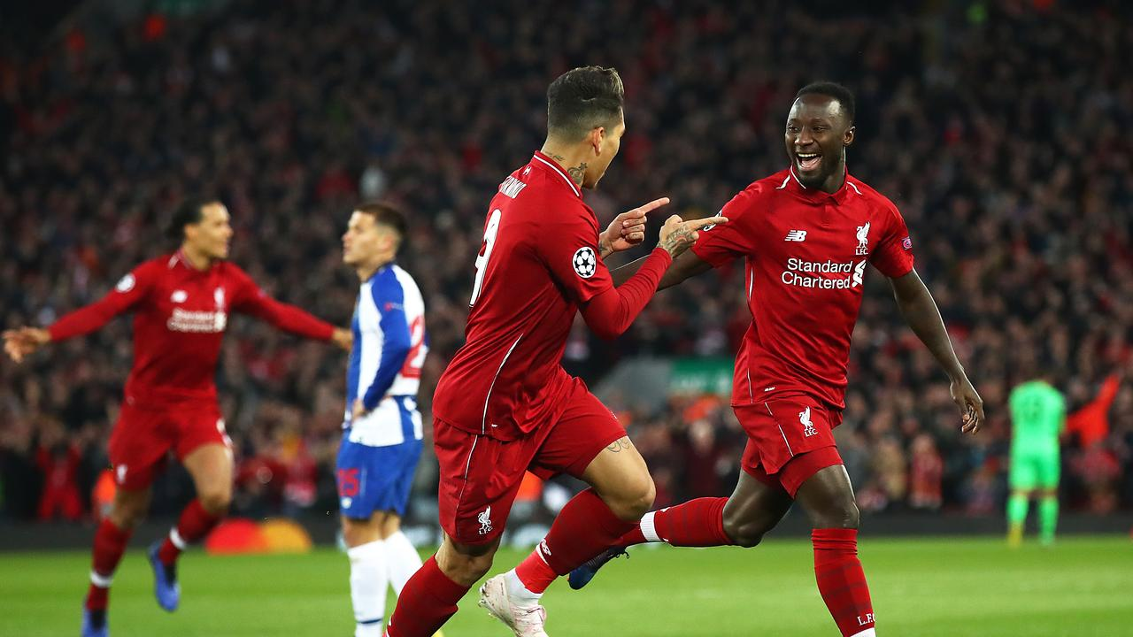 Naby Keita of Liverpool celebrates scoring his team's first goal