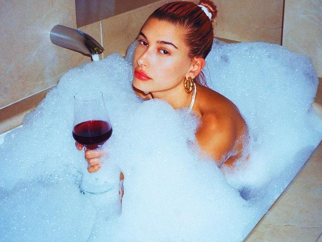 Hailey Baldwin shared a less-obviously edited bathtub shot. Picture: Instagram